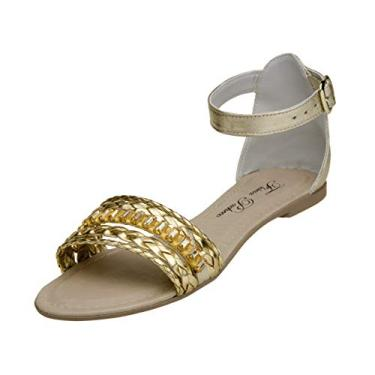 Sandalia Rasteirinha Feminina Brisa Pedra Dourada P86-202dou (34, Dourado)