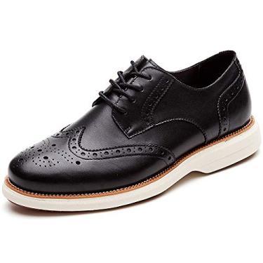 LAOKS sapato masculino Hybrid Brogue Oxford, com cadarço e ponta de asa, Preto, 11.5