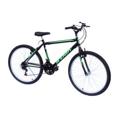 Bicicleta aro 26 mtb wendy 18marchas cor preto adesivo verde