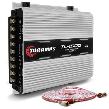 Módulo Amplificador Taramps TL 1500 Class D 390W RMS 3 Canais 2 Ohms + Cabo RCA Stetsom 5M 2mm²