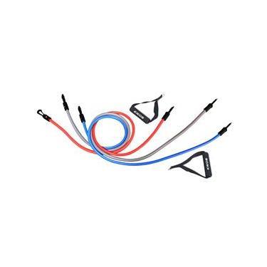 Kit de Extensores Elastic Training Kikos AB3210 - Cinza/ Azul/ Vermelho