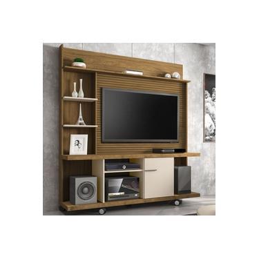 Estante para TV Até 47 Polegadas 1 Porta Taurus Cinamomo/Off White/Ripado