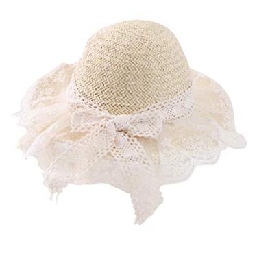 SOIMISS chapéu de palha decoração de renda chapéu de proteção solar chapéu de aba larga tecida para crianças ao ar livre praia (bege)