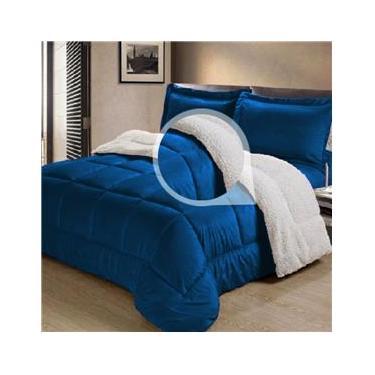 Cobertor/Edredom Sherpa Dupla Face  Casal Queen Tipo Lã de Carneiro Noites Quentes Azul Cotex