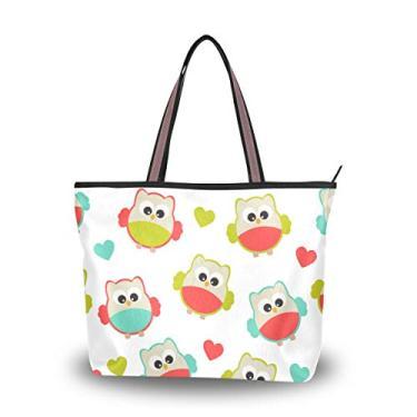 Bolsa de ombro com alça superior, tema de corações de pássaros, bolsa de ombro para mulheres, Multicolorido., Large