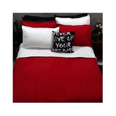 Imagem de Jogo De Cama Solteiro 9 Peças Tricolor Com Cobertor Vermelho