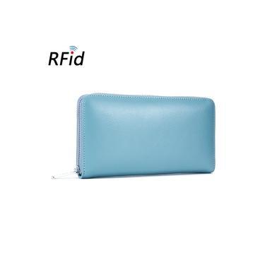 Moda feminina RFID carteira de couro Zipper Cart?o Purse Coin Bolsas Titular Pockets