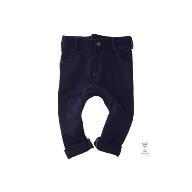 Calça Infantil Saruel Azul Marinho Pesponto Menino Índigo Trend