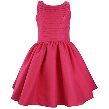 Vestido Juvenil de Festa Tecido Liso com Nervura (12, Flamingo)