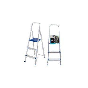 Escada Em Alumínio Dobrável Com 3 Degraus Antiderrapante Portátil De Uso Doméstico Mor