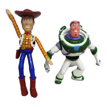 Kit com 2 Bonecos Toy Story Woody e Buzz