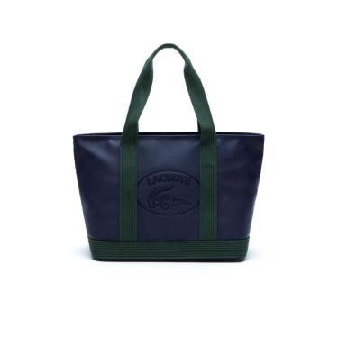 Bolsa Lacoste em Couro Azul Marinho  feminino