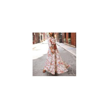 Moda feminina vestido longo manga 3/4 estampa floral vestidos festa casual solto swing vestido maxi plus size Branco M