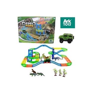 Imagem de Brinquedo Infantil Dino Pista de Carrinhos 81 Peças com Carro e Dinossauros
