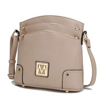 Bolsa transversal MKF para mulheres – Bolso de couro PU Bolso Bolso Bolsa multicompartimento Bolsa carteiro – Alça de ombro preta, Taupe Kessi, Medium