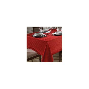 Imagem de Toalha de Mesa Retangular 6 Lugares 140x210cm Jacquard Dohler TJ-5795 Vermelha