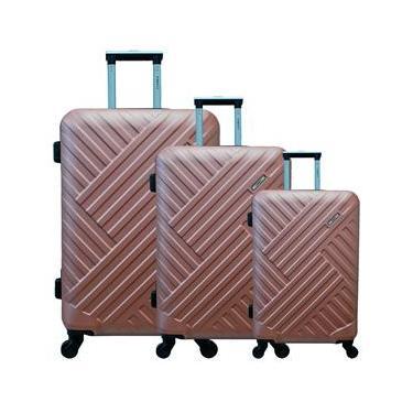 Conjunto de Malas para Viagem Yins Brasil YS21088RO com 3 peças com Rodas Giro 360º - Rosê