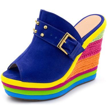 Sandália Tamanco Anabela Salto Alto Com Camurça azul e Salto em Sisal Colorido  feminino