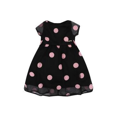 Vestido Infantil Momi Tule Bordado Poá Rosa