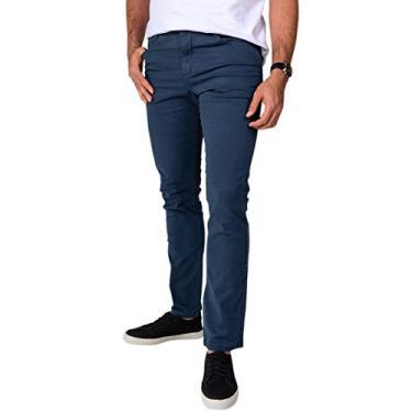 Calça Jeans Sarja Masculina Skinny Slim com Lycra Azul - 38
