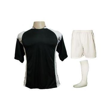 Uniforme Esportivo com 14 camisas modelo Suécia  + 14 calções modelo Madrid Branco + 14 pares de meiões Branco