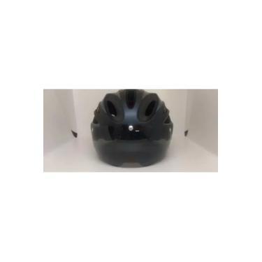 Imagem de Capacete Vicinitech C/oculos Embutido/led Fosco 57-61cm Bike preto/cinza