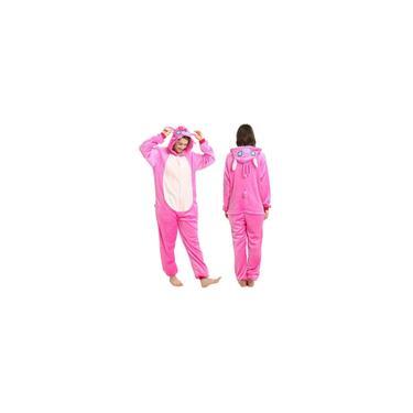 Stitch Rosa Pijama Macacão Fantasia Kigurumi Cosplay Plush Adulto Unissex