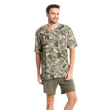 Pijama Masculino Curto Com Blusa Estampada Guilherme Verde/GG