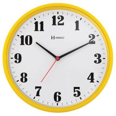 20a40cf418b Relógio de Parede 26 cm Analógico tic-tac Amarelo Herweg
