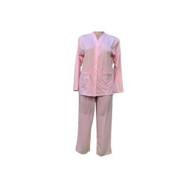 Pijama feminino inverno malha maternidade senhora botões plus size 3690 G1