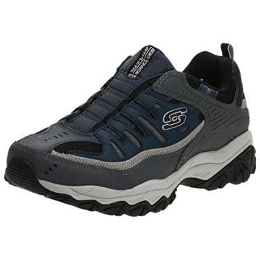 Mocassim masculino Skechers Afterburn M. Fit Wonted, Azul-marinho/cinza, 8.5 X-Wide