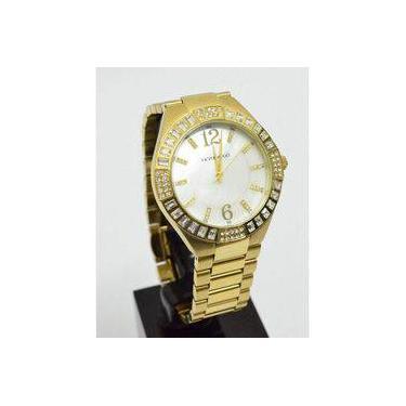 6419f3c8ac0 Relógio Dourado Grande Feminino Victor Hugo Vh10106lsg 28m