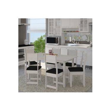 52056edb4 Conjunto Sala De Jantar Mesa 6 Cadeiras Dallas Indekes Branco