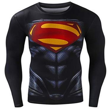 Imagem de Camiseta masculina de compressão esportiva Cool Super Person Running manga comprida Red Plume, Preto, XXL