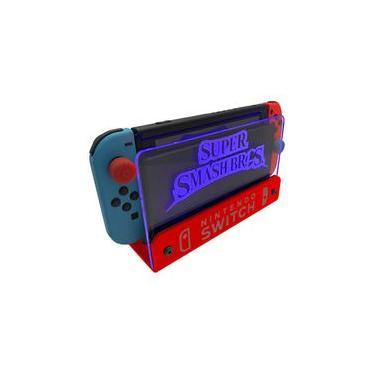 Suporte Bancada/Parede Nintendo Switch Iluminado - Smash Bros - Base Vermelho LED Azul