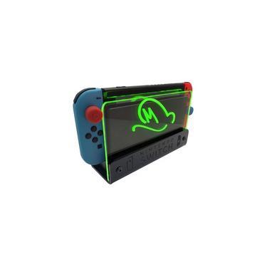 Suporte Bancada/Parede Nintendo Switch Iluminado - Mario Odyssey - Base Preta LED Verde