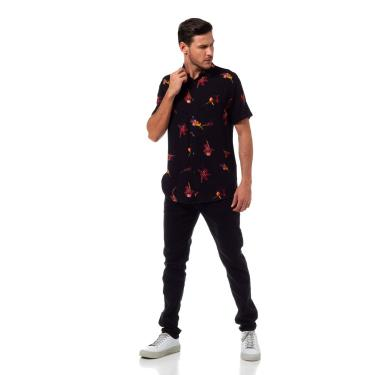 Camisa Estampada Slim Fit, Masculino, Preto/Rosa/Laranja/Amarelo/Off/Marrom, 2 Preto/Rosa/Laranja/Amarelo/Off/Marrom 2