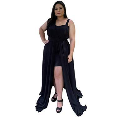 Vestido de Madrinha de Casamento Longo Plus Size Estilo Grega Moda Feminina (Preto, G)