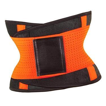 oshhni Cintos de suor femininos Espartilho modelador de cintura elástico, Laranja, XXL