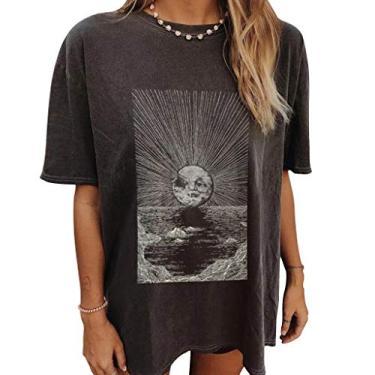 Camiseta feminina Moon and Sun, tamanho grande, vintage, estampa da natureza, blusa tie dye, túnica solta, Xyx1210303ab46, L