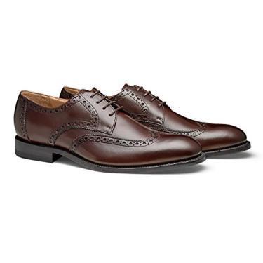 Moral CODE The Holden: Sapato social masculino de couro feito à mão com ponta de asa, Coffee Leather, 13