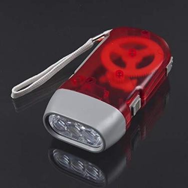 CNmuca 3 LED com pressão manual Dínamo Crank Power Wind Up Lanterna Tocha Luz de pressão manual Manivela Lâmpada de acampamento Luz vermelha