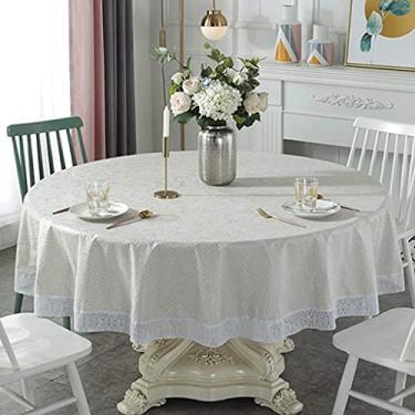 Imagem de Toalhas de mesa para mesas redondas de 220 cm, toalha de mesa para mesa de piquenique ao ar livre, camping, capa de mesa de plástico redondo, capa de mesa com borlas, tecido durável, imperme