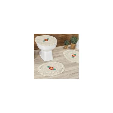 Imagem de Jogo de Banheiro de Crochê detalhe de Flor Delicada 3 Peças