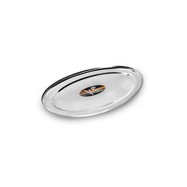 Imagem de 6 Travessas Rasa Oval Inox 22cm Porção Comida Servir Salada Ke Home 3103-22kh