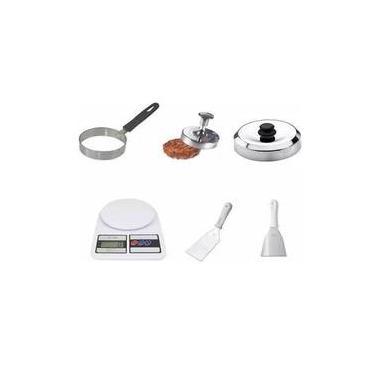 Kit Modelador De Hamburguer Ovos Abafador Espatulas Balança