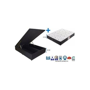 Conjunto Cama Box Bau Bipartido Casal 1,38 x 1,88 Premium Corino Preto + Colchão Espuma Firme D-26