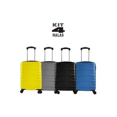 """Kit c/ 4 Malas de Bordo c/ 4 Rodinhas 360º (Regulamentação ANAC) Stile 18"""" - 1 Preta 1 Cinza 1 Amarela 1 Azul"""