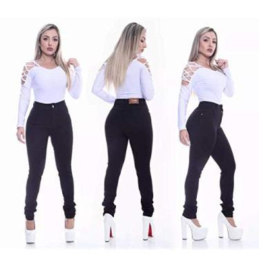 Calça Jeans Feminina Preta Skinny Cintura Alta Cor: Preto; Tamanho: 36