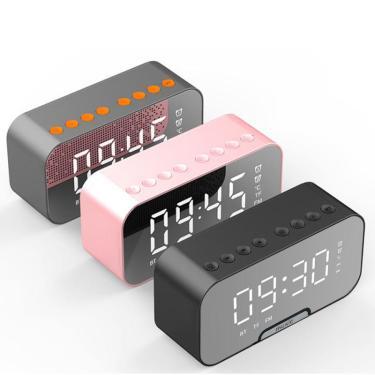 Alarme Digital Relógio Bluetooth Alto-falante com Slot para Cartão TF Rádio FM LED Tabela Espelho Relógio Tempo Temperat Banggood